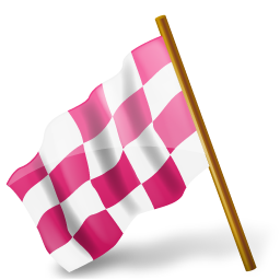 left pink drapeau course