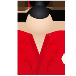 kimono women red