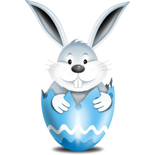 bunny in egg oeuf blue